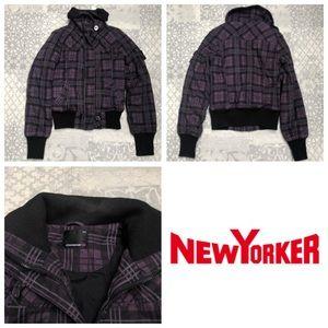 New yorker purple checked winter jacket XS
